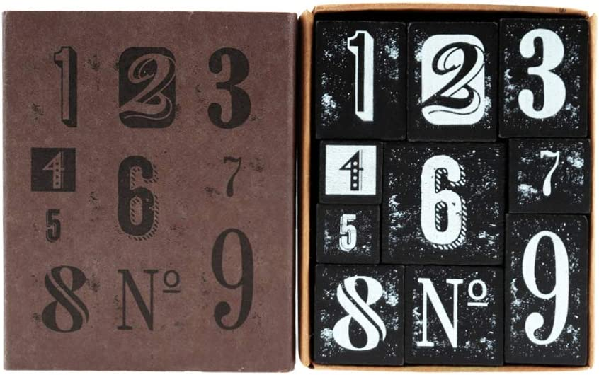 Number 1-9 Decorative Mounted Rubber Stamp Set for DIY Craft Letters Diary and Craft Scrapbooking 10 Pieces Vintage Wooden Rubber Stamps