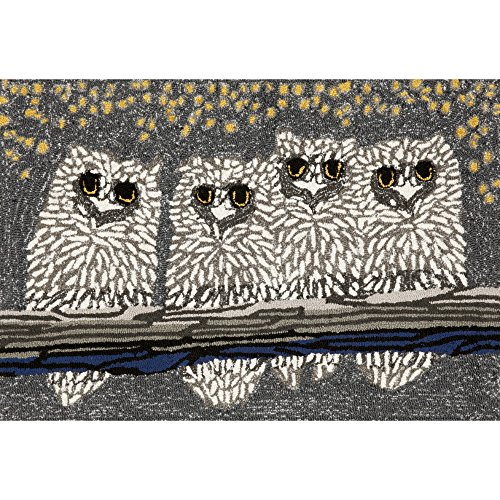 Liora Manne FTP23144347 Frontporch Winter Night Bird Owls Indoor/Outdoor Rug 2' X 3' Black and Grey