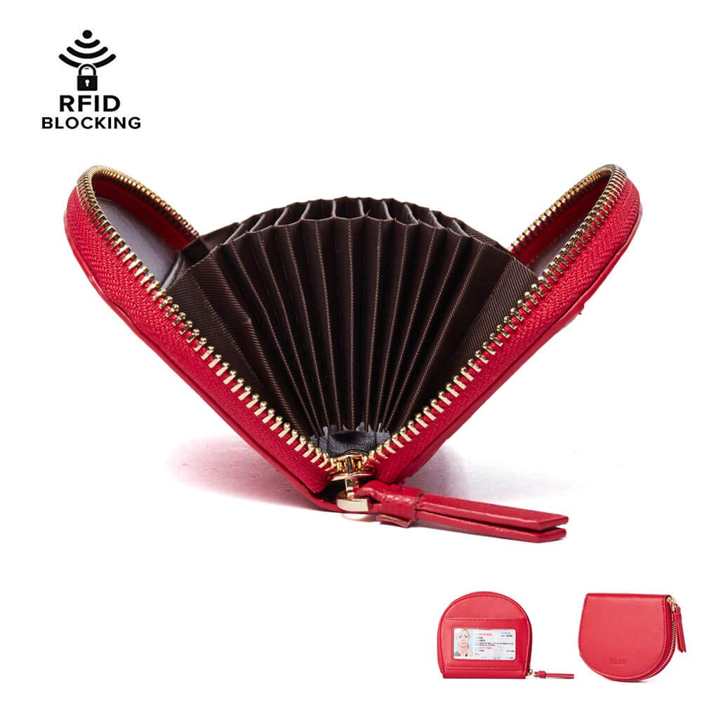 Credit Card Holder for Women, IBFUN Leather Wallet with RFID Blocking Accordion Wallet