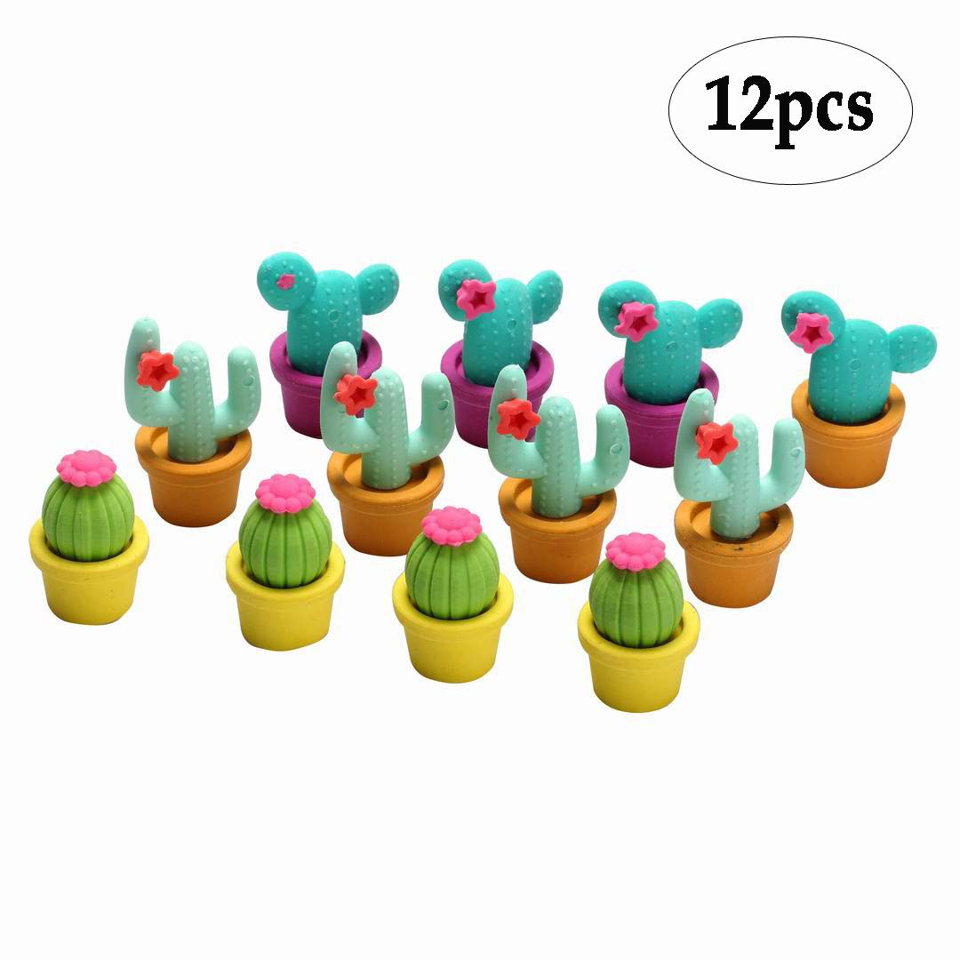 BinaryABC Cactus Erasers,Cartoon Erasers,Pencil Eraser Set, School Stationery 12pcs(Random Color)