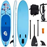 Goplus Inflatable Stand up Paddle Board Latest Inkjet Process Anti-Fading iSUP with 3 Fins Thuster, Adjustable Paddle, Hand Pump and Carry Backpack
