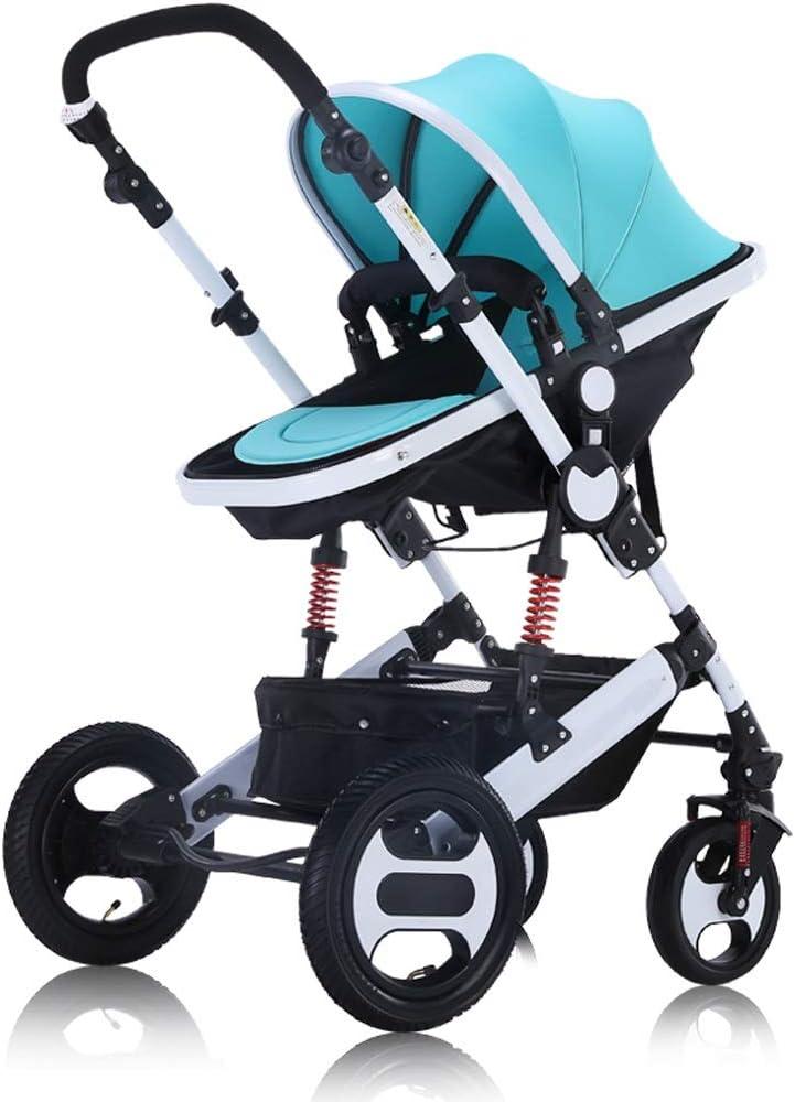 WWWANG Cochecito de bebé 2 en 1 Cochecito de alta paisaje mentira o de amortiguación plegable de peso ligero de dos vías del bebé cuatro estaciones plegable Cesta (Color : Light blue)