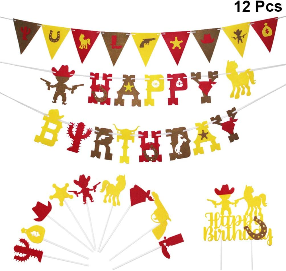 Amosfun Cowboy Birthday Party Decorations Happy Birthday Garland and Cake Tooper Wild West Party Accessory 12pcs