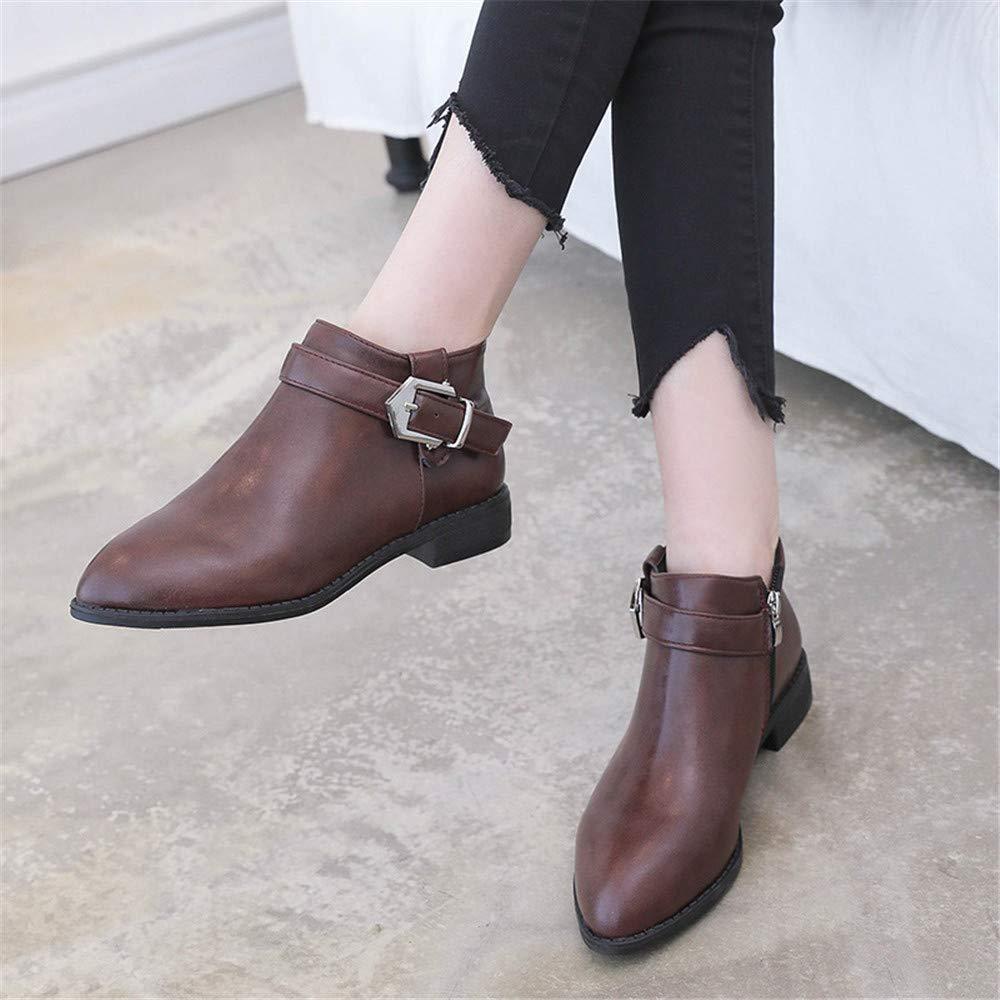Qiusa High Heels Martin Stiefel weiblicher weiblicher weiblicher seitlicher Reißverschluss wies Wilde Damenstiefel Bequeme warme Stiefel Kinder, braun, 39 (Farbe   -, Größe   -) b8d482