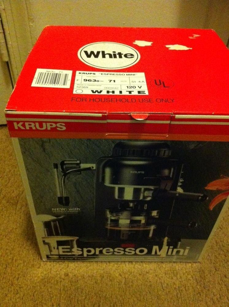 Krups Espresso Mini 963 White Electric Cappuccino Espresso Coffee Maker Machine 800 Watts