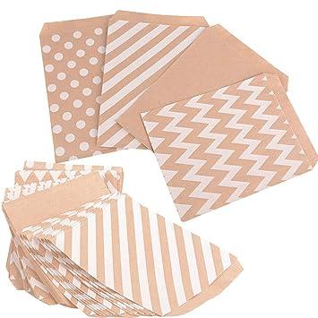 100pcs (13x16.5cm) Bolsas Papel Kraft Pequeñas Bolsas de Regalo Pequeñas de Papel Sin Asas para Navidad Boda Cumpleaños Comida Caramelos Dulces ...