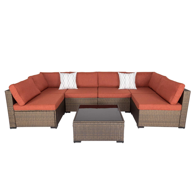 kinsunny 7 pcs patio wicker rattan sofa