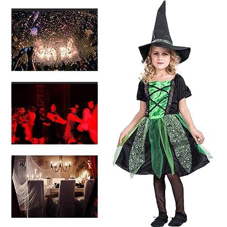 Disfraz De Halloween para Niñas, Bruja Verde, Traje De Falda ...