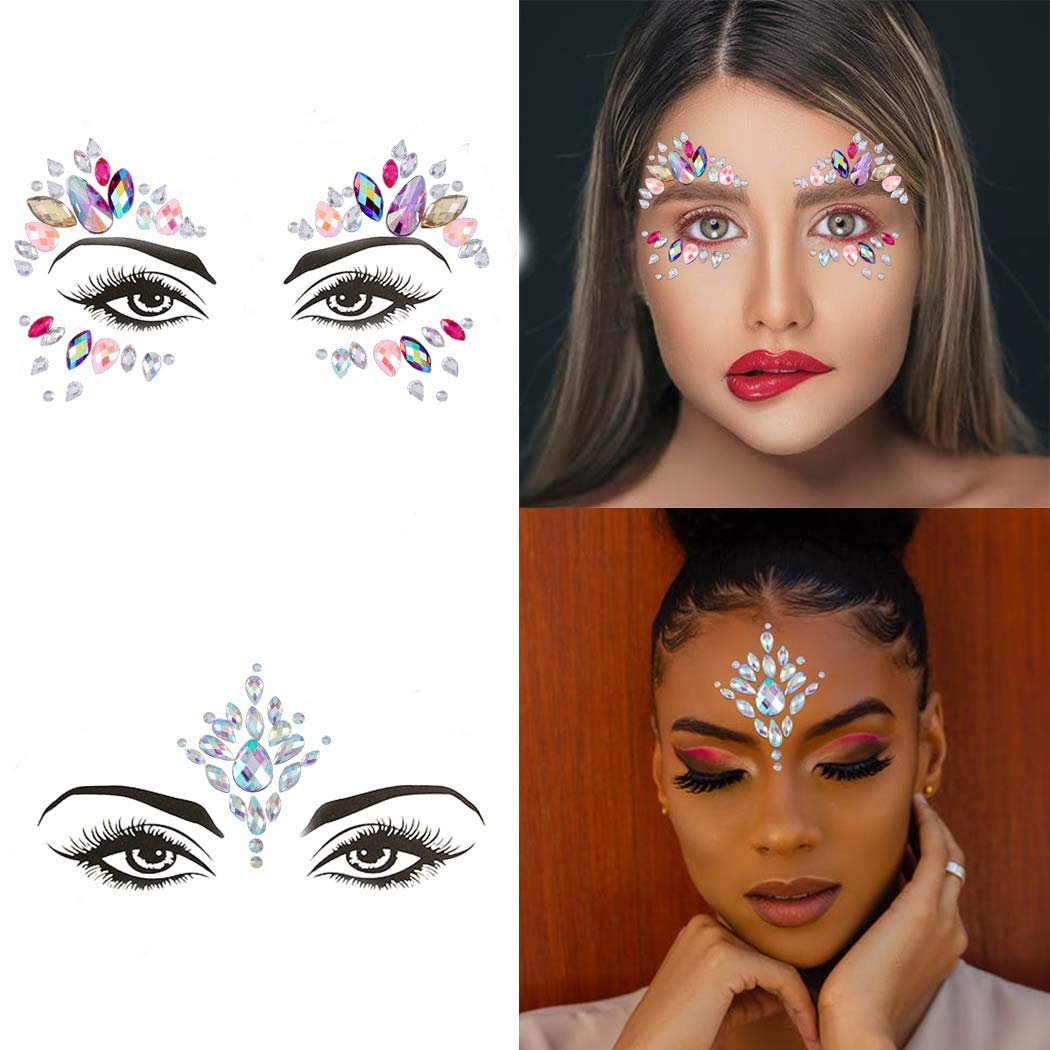 Aularso Bindi Mermaid Face Gems Rhinestones Face Jewel Rave Party Crystal Face Sticker Body Eyes Jewel Temporary Sticker for Women and Girls(Pack of 2)