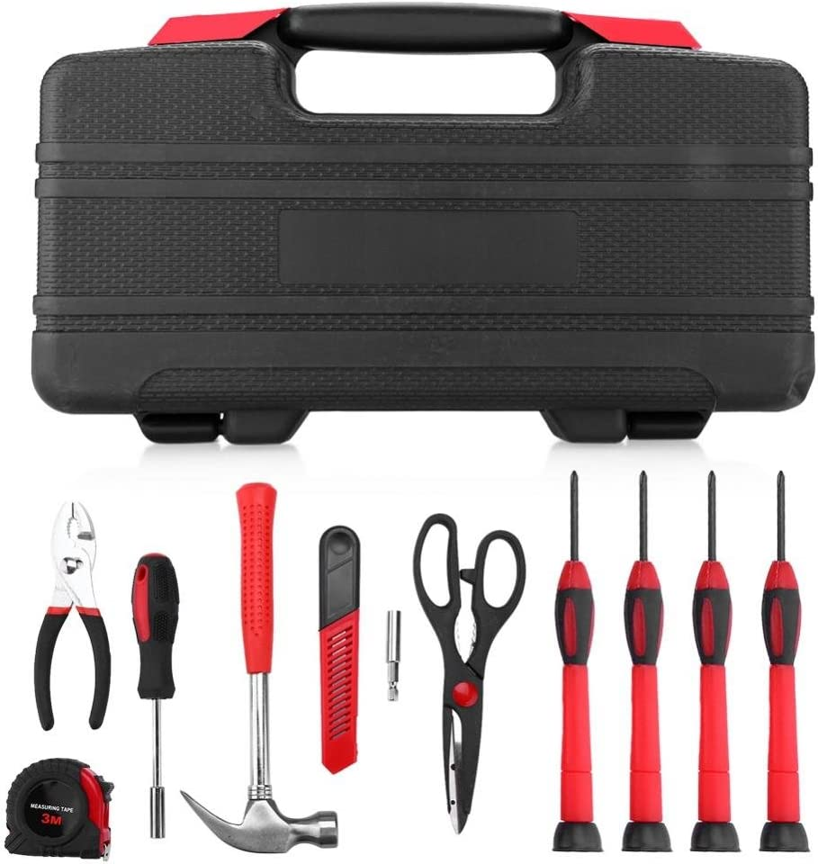 Juego de herramientas de 38 piezas, herramientas de reparación profesional, kit de herramientas de trabajo universal para doméstico con caja de plástico