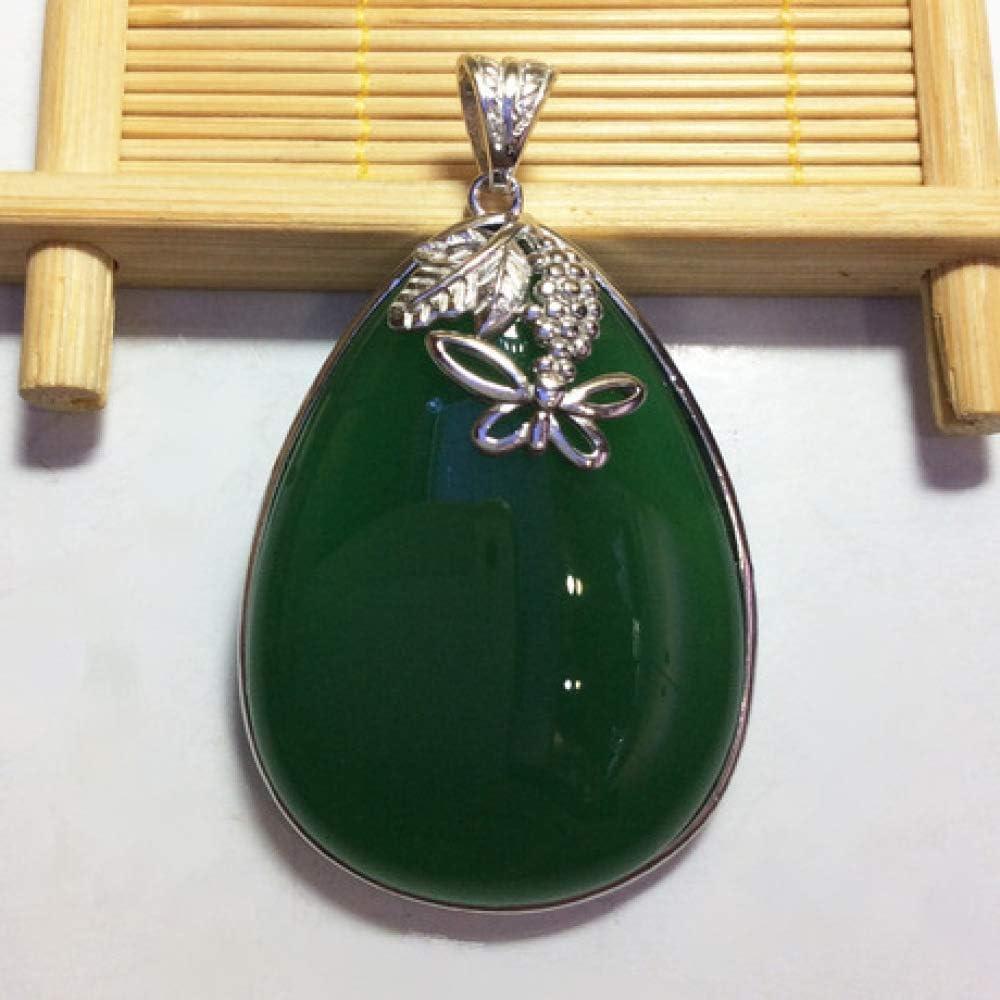 Mayanyan S925 Plata con Incrustaciones de ágata Verde calcedonia Mariposa Colgante Natural Jade Collar Regalo de Las señoras