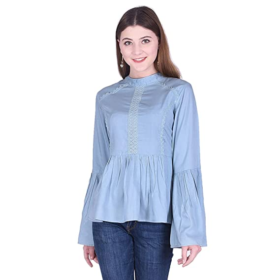 Buy Created in India Solid Top with Full Length Bell Sleeves