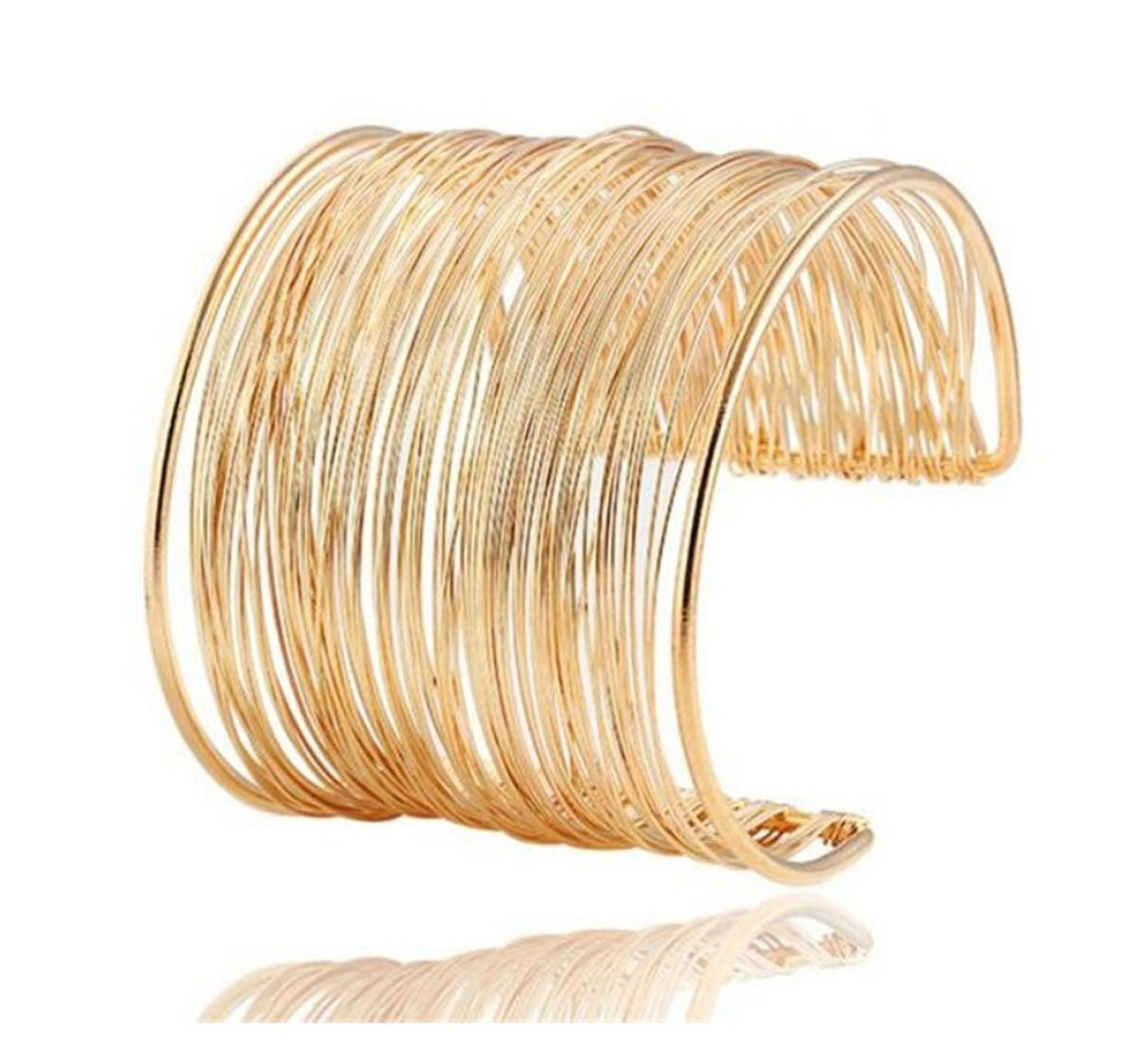 Adorable Woman Europe Fashion Iron Wire Opening Charm Gold Bracelet Jewelry by Adorable Woman
