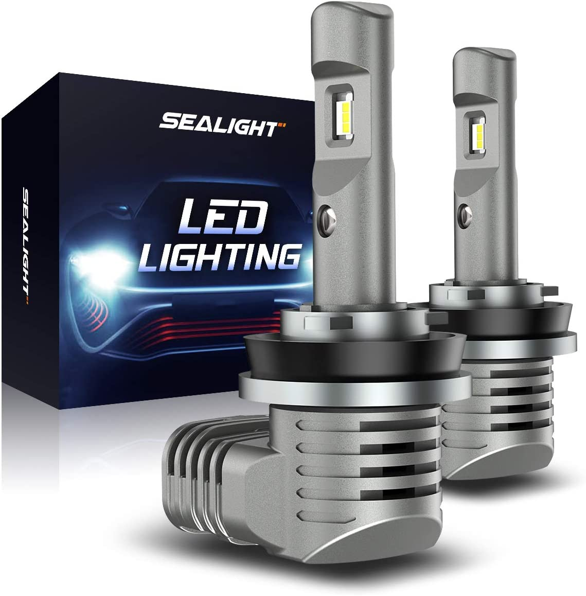 SEALIGHT Scoparc S2 H11/H8/H9 LED Headlight Bulbs, H11 LED Low Beam/Fog Light, 1:1 Halogen Bulb Design, 6000K Bright White
