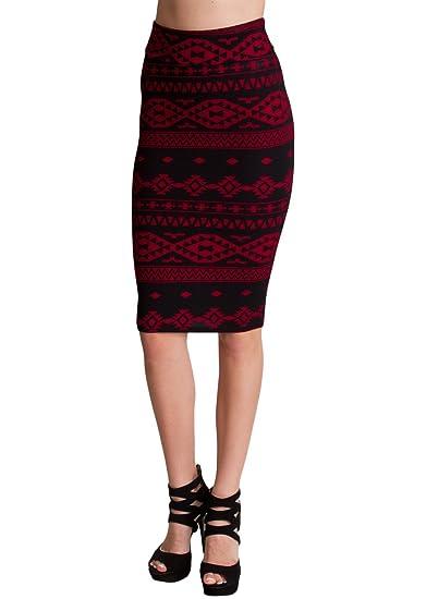 Clothes Effect - Falda - Estuche - Étnica - para mujer rojo ...