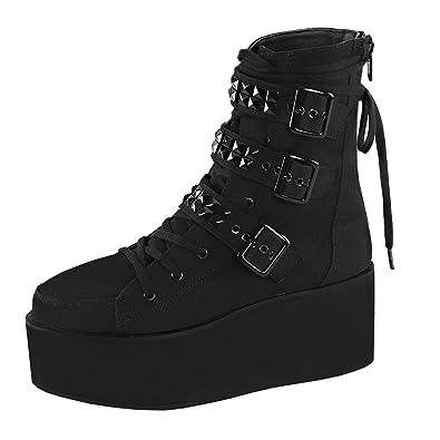 69db4c3b7382e Amazon.com | Womens Black Platform Boots Lace Up Shoes Ankle Combats ...