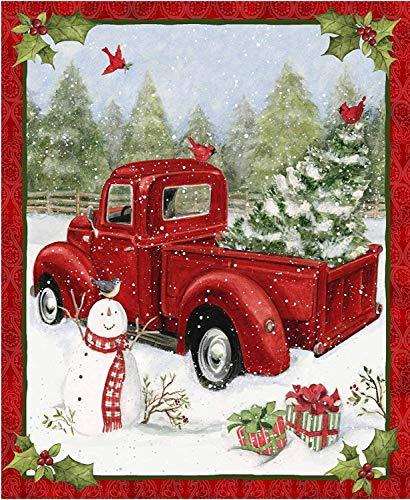 [해외]Red Truck Christmas Fun 36x44 Panel Snowman Cardinal Gifts Snow Cotton Fabric by Springs Creative / Red Truck Christmas Fun 36x44 Panel Snowman Cardinal Gifts Snow Cotton Fabric by Springs Creative