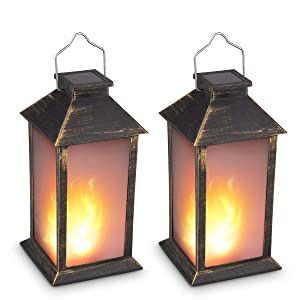 "13"" Vintage Style Solar Powered Candle Lantern(Metallic Coating Black,Plastic),Solar Garden Light with Vivid Fire Effect,Outdoor Solar Hanging Lantern,Decorative Candle Lanterns ZKEE (Set of 2)"