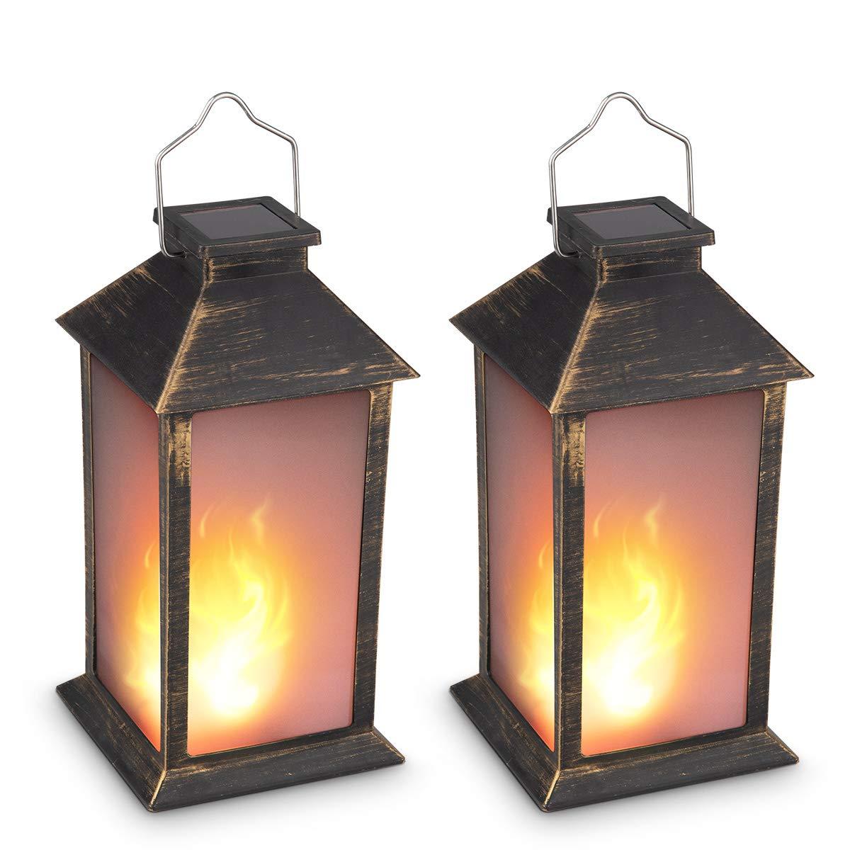 13'' Vintage Style Solar Powered Candle Lantern(Metallic Coating Black,Plastic),Solar Garden Light with Vivid Fire Effect,Outdoor Solar Hanging Lantern,Decorative Candle Lanterns ZKEE (Set of 2)