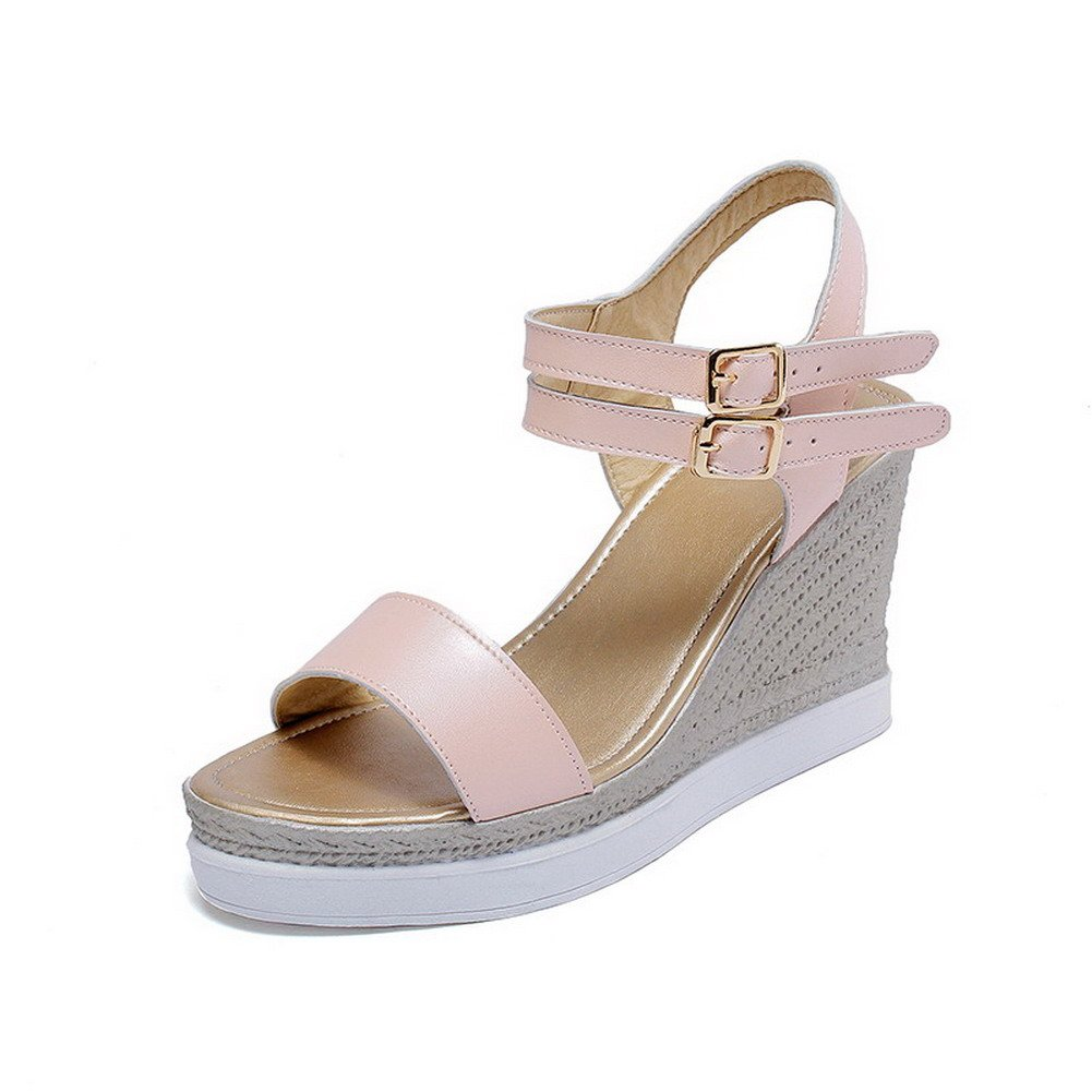 AllhqFashion Women's Open Toe High Heels Soft Material Solid Buckle Platforms & Wedges, Pink, 40