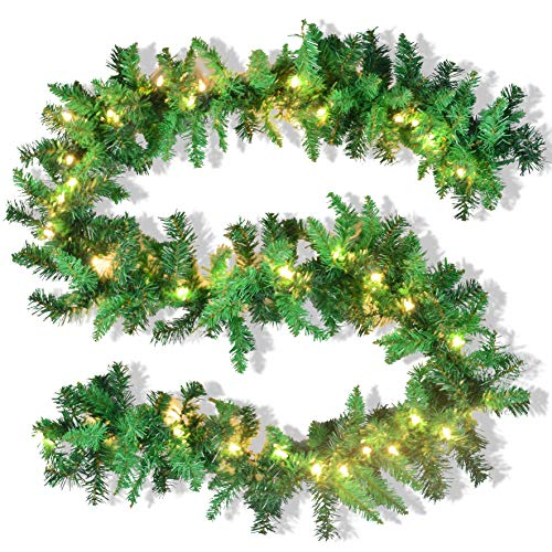 JOYIN 9 Foot by 10 Inch Artificial Christmas Garland Prelit with 50 UL Listed Warm Clear -