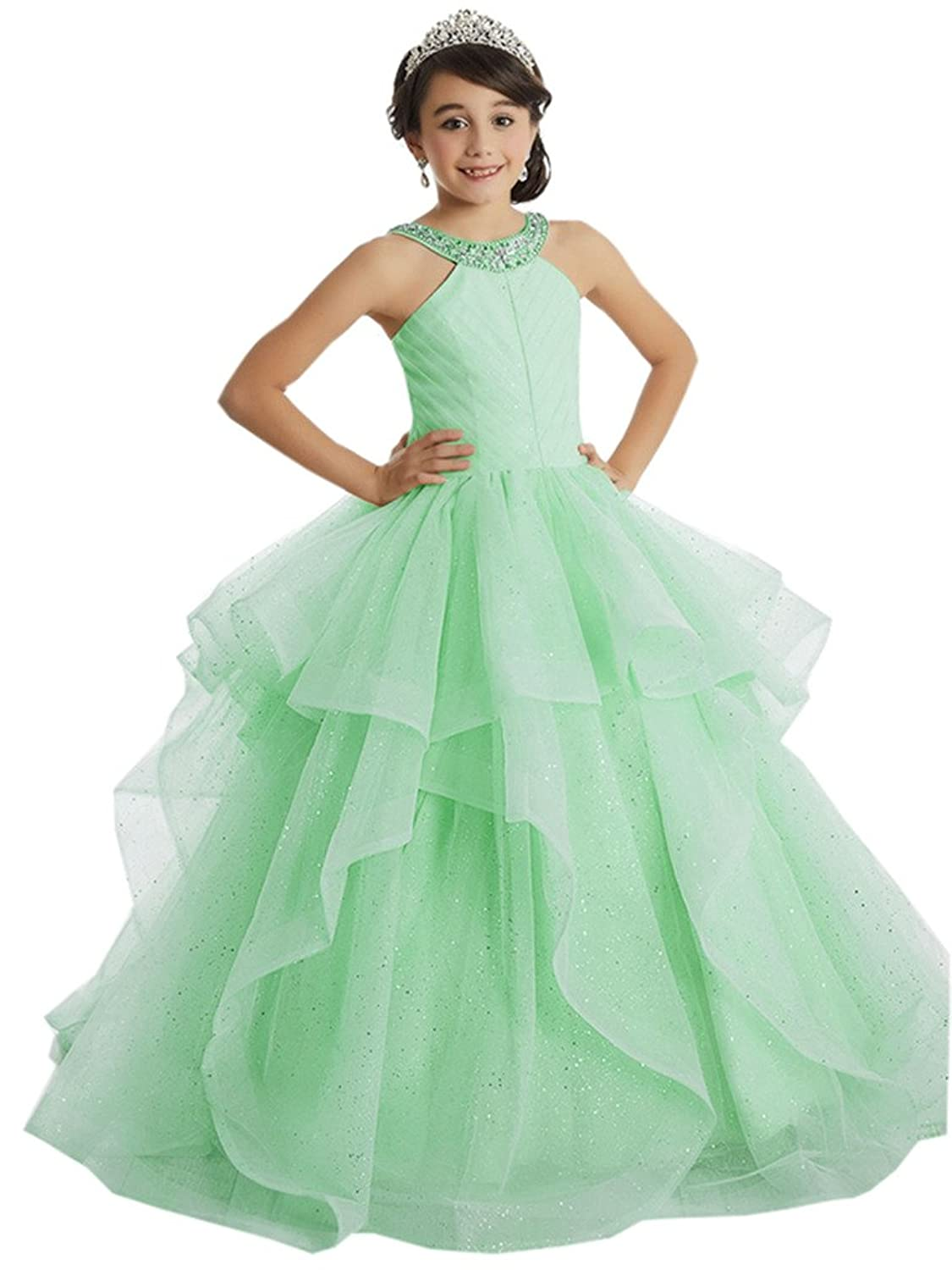 Big Girl's Organza Ruffle Halter Ball Gown Pageant Dresses