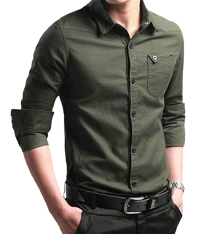 Etecredpow Men Lapel Business Slim Casual Button-Down Long Sleeve Shirts