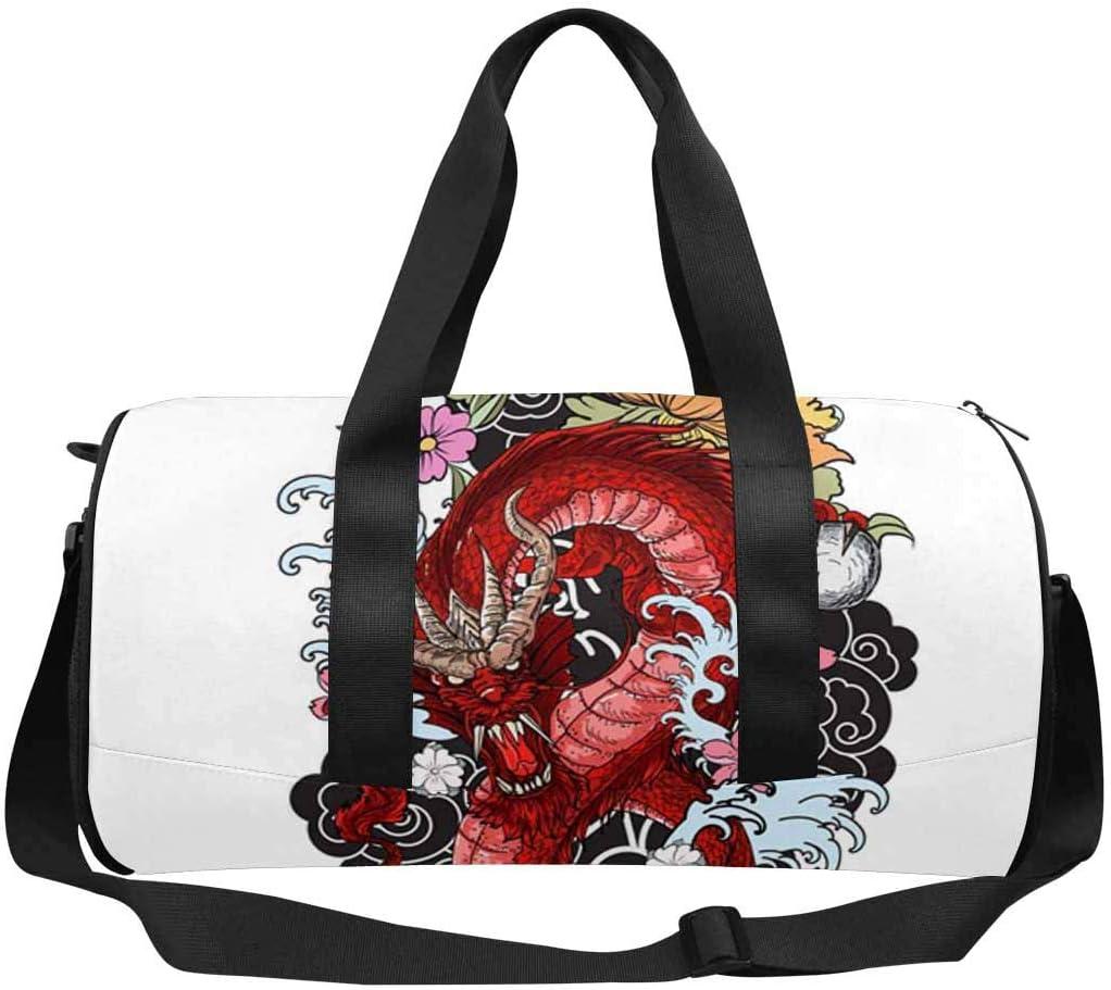 INTERESTPRINT Red Dragon Tattoo Gym Duffle Bag Waterproof Travel Weekender Bag