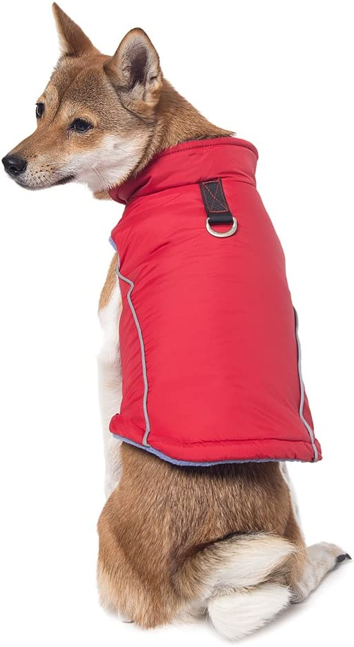 Sports Vest Fleece Lined Small Dog Cold Weather Jacket Coat Sweater with Reflective Lining Gooby