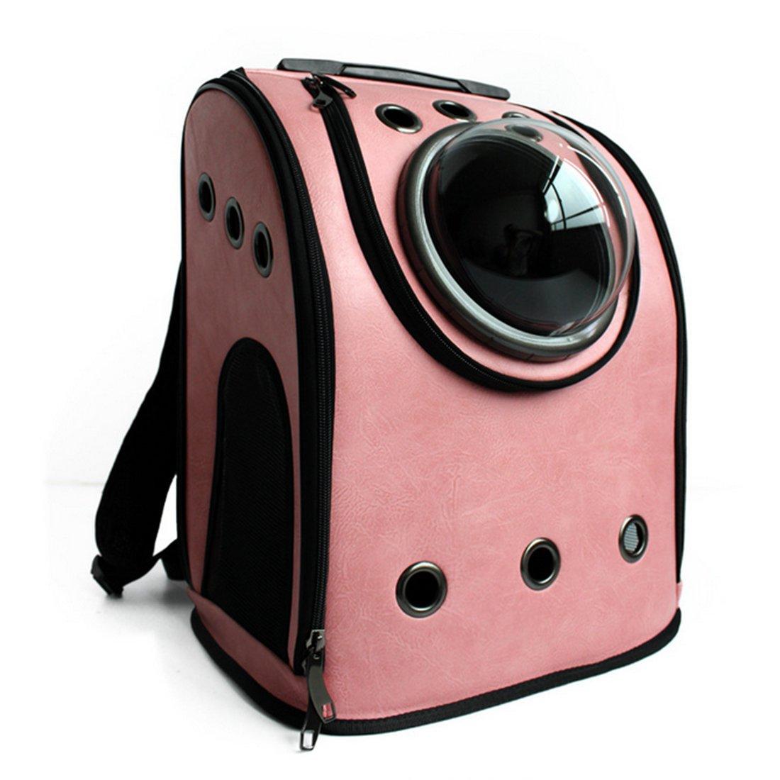 Petforu Pet Carrier Backpack, Space Capsule Dog Cat Small Animals Travel Bag - Pink