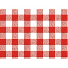 """40"""" x 55"""" Rectangular Burberry Boxes Red Vinyl Tablecloth Non-Woven Backing (Seats 2-4 People)"""