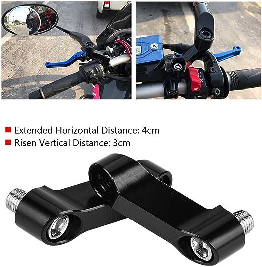 Adattatore riser per specchietti moto 黑色 Akozon M10//M8 Kit prolunga specchietto retrovisore modificato per riser specchietto per bici moto
