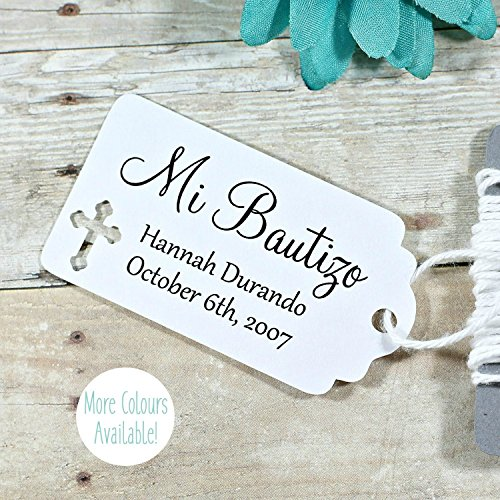White Baptism Tags - Small Personalized Favor Tags - Mi Bautizo (Set of 20) (Personalized Favor Tags)