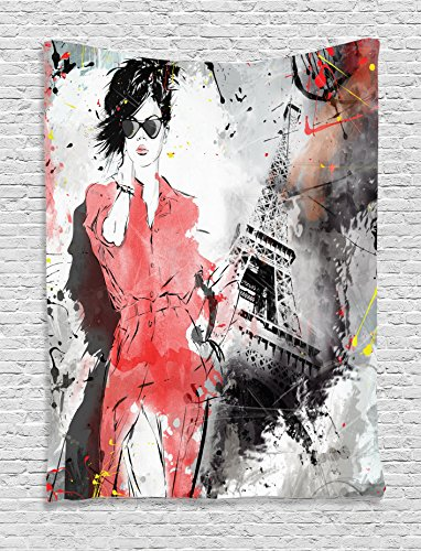 Ambesonne Paris Decor Collection, Modern Parisienne French Fashion I
