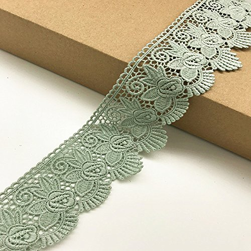 6CM Width Europe Rose pattern Inelastic Embroidery Trims,Curtain Tablecloth Slipcover Bridal DIY Clothing/Accessories. (4 yards in one package)(Light green)