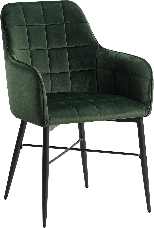 WOLTU BH81dgn 1 Sedia da Pranzo con Schienale Braccioli Poltrona da Camera Salotto in Velluto Verde Scuro