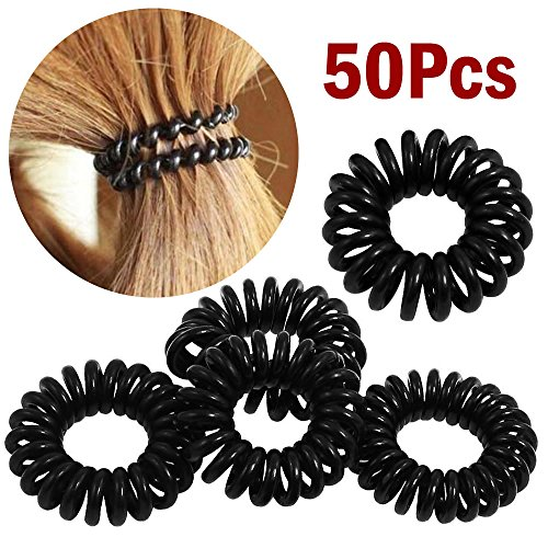 AStorePlus 50 Pcs Black Phone Wire Line Hair Ring Band Bracelet Rope Ponytail Holder