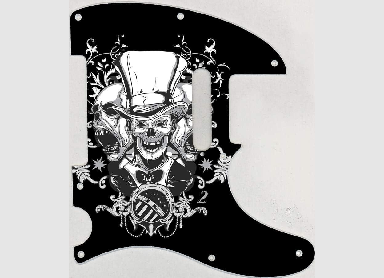 Custom Graphical Pickguard to fit Fender Tele Telecaster Top Hat Skull