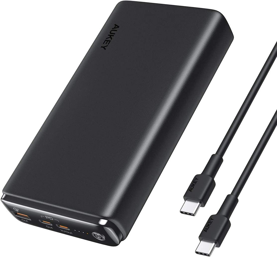 AUKEY USB C Power Bank 26800mAh, 60W PD Portable Charger with Quick Charge 3.0, Battery Pack Compatible with MacBook Pro/Air, iPhone 11 Pro/XS, USB C Laptop, Nintendo Switch, Tablet, Samsung and More