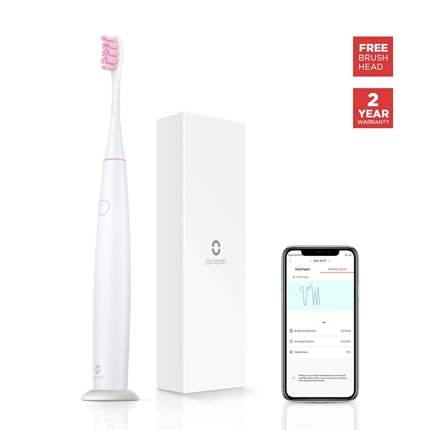 Oclean Air Smart Sonic Electric Toothbrush with Pressure Sensor, a Lifetime of Free Brush Heads, 2.5 Hour Quick Charge 30 Days Battery Life, 3 Brushing Modes, 2 Intensity Settings, Pink
