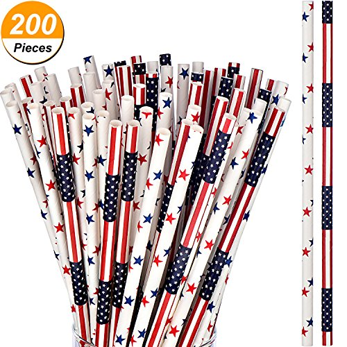 Patriotic Straw - TecUnite 200 Pieces Patriotic Biodegradable American Flag Red White Blue Paper Drinking Straws, 2 Designs, 7.75 Inches, Memorial Day and 4th of July Independence Day Celebration Supply