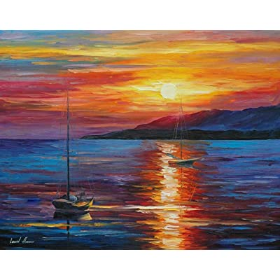 Paint by Numbers for Adults Kids Oil Paint by Numbers DIY Kits Canvas Home Wall Decor - Dusk Sea Landscape 16X20 Inch (Frameless): Toys & Games