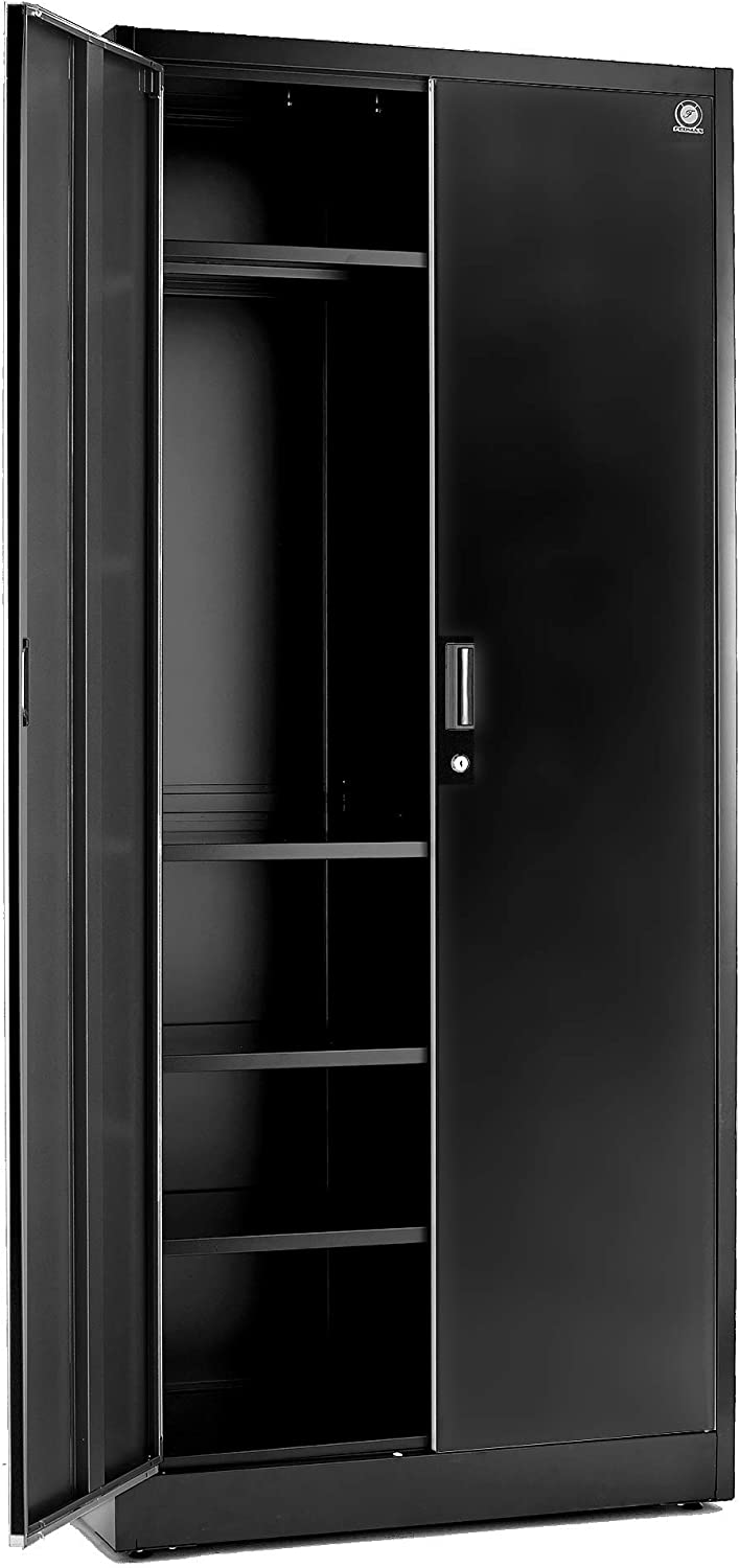 "Storage Cabinets with Doors and Shelves - 71"" Tall, Lockable Metal Cabinet, 5 Adjustable Shelves for Tools - Sturdy Utility Locker for Garage, Kitchen Pantry, Office, Patio (Black Doors)"