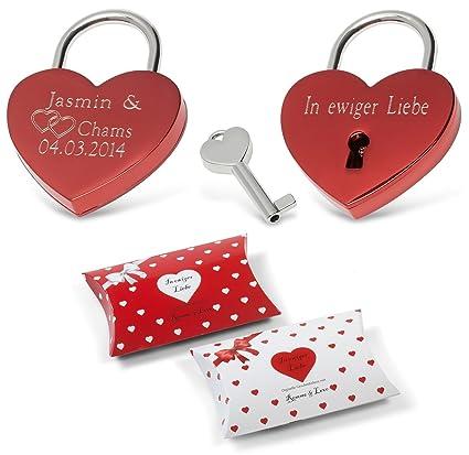 Remmo & Love Corazón Rojo Candado del amor inoxidable Corazón cerradura Candado Corazón Forma brillante