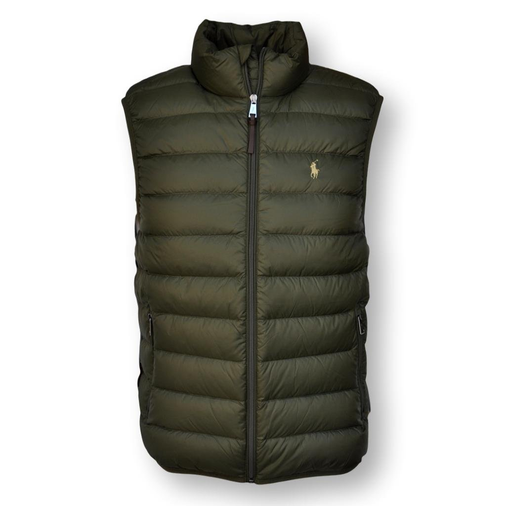 Ralph Lauren Polo Mens Water-Repellent Down Vest, Company Olive, M by Polo Ralph Lauren