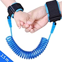 JISNEY Baby Child Anti Lost Wrist Link Safety Harness Strap Rope Leash Walking Hand Belt Band Wristband for Toddlers, Kids (2.5m Blue)