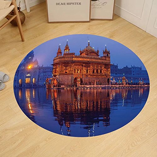 Gzhihine Custom round floor mat Home Decor Golden Temple At Night City Lights Holy Shrine Worship For Men And Women Equally Picture Bedroom Living Room Dorm Decor Blue Orange by Gzhihine