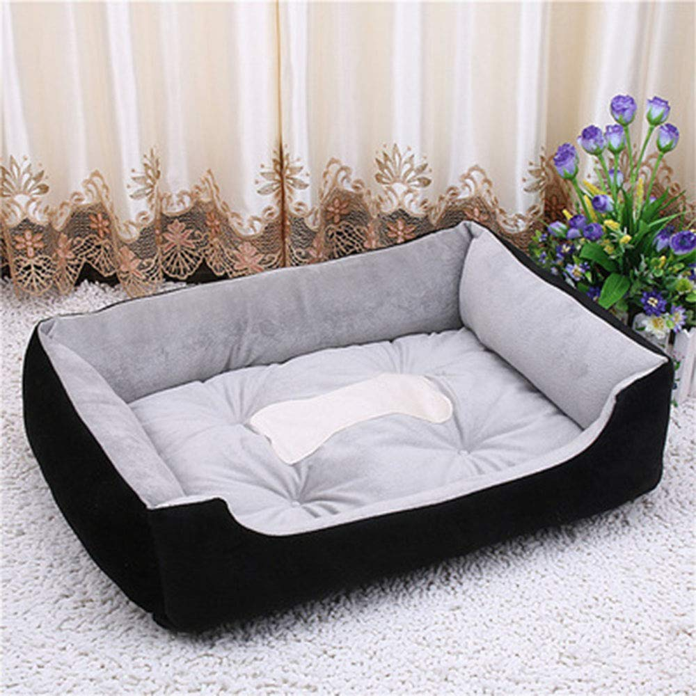 Black 70CMFour Seasons Universal Dog Bed, Square Washable Pet Supplies Small Cat Dog House Super Soft Cotton Mats Sofa Dog Basket,Black,70CM