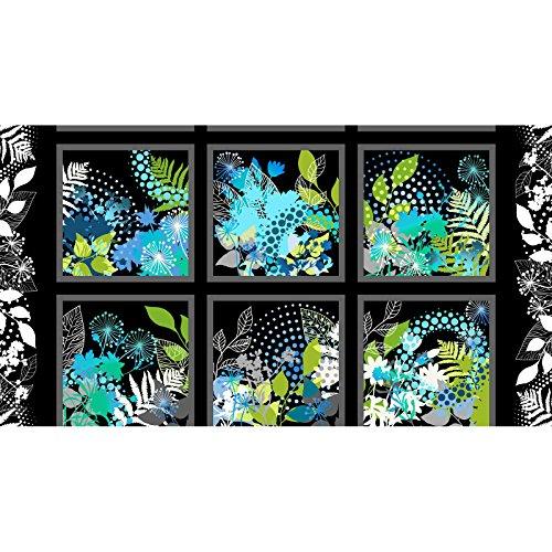 (Beautiful Cool Blue Floral Block Panel Print Fabric ~ 24