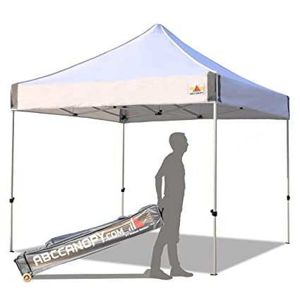 detailed look fb23c 1adda ABCCANOPY Aluminum Canopy Tent 10x10 Deluxe Pop up Instant Shelter with  Roller Carry Bag,White